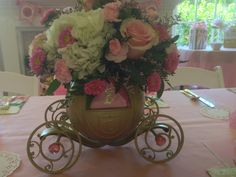 """""""Once Upon A Time"""" Themed Baby Shower"""". Disney Cinderella Coach (pop corn container) Turned Center Piece."""