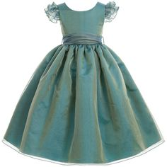 Nicki Macfarlane Green Silk 'Francesca' Dress at Childrensalon.com