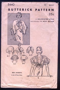 Butterick 5440 Ladies' Evening Or Bed Jackets 1930 SzB36 Env age distressed good complete end 30+4 1bd 4/29/15