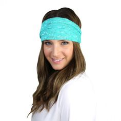 Mint/teal lace headband. #headband #style #colorful #fashionista 9thelm.com