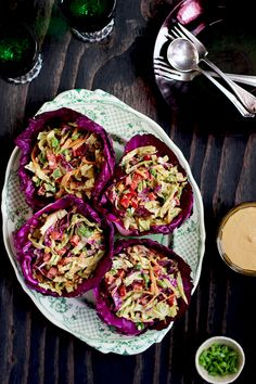 Asian Peanut Slaw with red cabbage bowls
