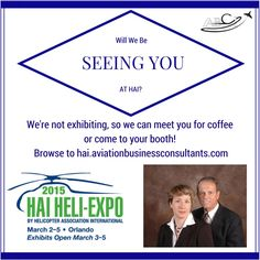 """We'll be """"floating"""" at this year's HAI Heli-Expo, and we'd be glad to meet with you at your booth or go find a quiet corner for a cup of coffee and a quick chat about your marketing!"""