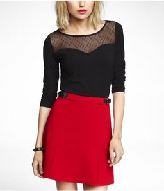 Polka Dot Mesh Top and Red Skirt from Express