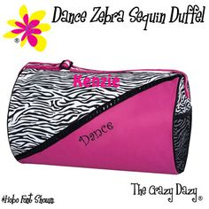 Sassi Designs Zebra Boutique For Gymnast Bags are made of a hot pink micro fiber combined with a crisp zebra print with sequin trim. This bag also features an embroidered gymnast, hot pink carry straps, inside and outside pockets, and a personal ID Tag. Dance Tights, Workout Attire, Costume, Dance Outfits, Duffel Bag, Luggage Bags, Gymnastics, Gym Bag, Sunglasses Case