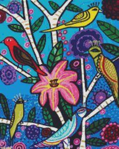 Modern cross stitch kit by Heather Galler 'Blue par GeckoRouge, $82,00