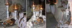 a Romantic Wedding Decoration in Syros island, Greece. Starfish, Ladder Decor, Wedding Decorations, Romantic, Candles, Wedding Decor, Candy, Romance Movies, Candle Sticks