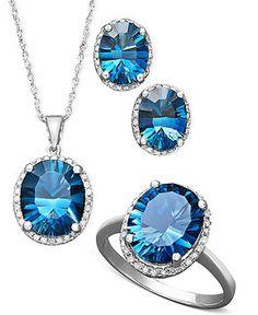 14k White Gold Jewelry Collection, London Blue Topaz and Diamond Jewelry Ensemble - FINE JEWELRY - Jewelry & Watches - Macy's