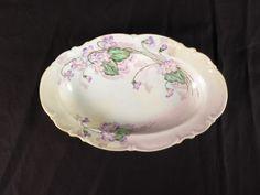 Hutschenreuther Selb LHS oval serving dish vtg Bavaria M Brooks flowers purple #Hutschenreuther