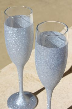 Silver Sparkly Wedding Champagne Glass or Bridal Flute.