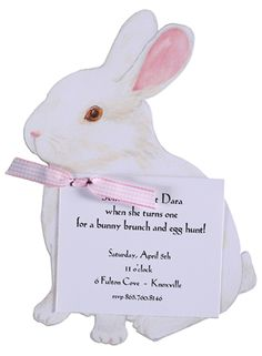 A Bunny Invitation with Pink Ribbon #Easter