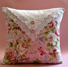 fold hankie in half over matching fabric pillow