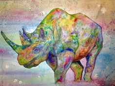 African Rhino Painting  - African Rhino Fine Art Print