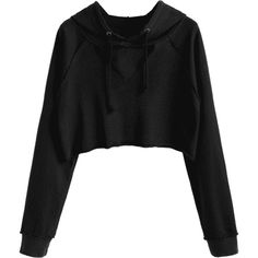 Raglan Sleeve Cut Out Cropped Hoodie Black S (343.860 IDR) ❤ liked on Polyvore featuring tops, hoodies, raglan hoodie, hoodie top, sweatshirt hoodies, cutout tops and cut-out crop tops
