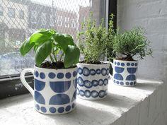 Basil, lemon thyme, and rosemary get some sun in their Lotta Jansdotter mugs.