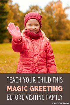 Before you visit extended family for Christmas holidays or summer vacation, teach your child this 3-part greeting. This parenting tip works great for kids who shy away from hugging in that situation! Includes a free printable coloring page for kids.