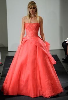 Vera Wang Fall 2014 Wedding Dresses, so inspired!- Become a VIB today for more great wedding resources and deals from our VIB Vendors Coral Dress Wedding, Wedding Dresses 2014, Colored Wedding Dresses, Wedding Gowns, Bridesmaid Dresses, Vera Wang Bridal, Bridal Fashion Week, Beautiful Gowns, Dream Dress