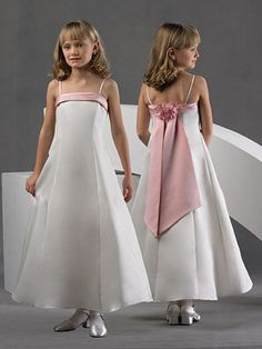 Flower Girl Dresses Pictures - A-Line Off the Shoulder Square Ankle-Length Satin Flower Girl Dress - Style FD4490