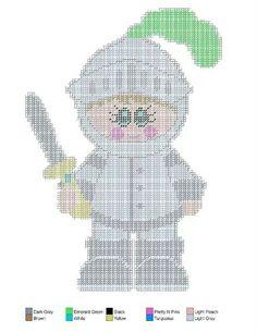 Knight 2 Plastic Canvas Crafts, Plastic Canvas Patterns, Canvas Door Hanger, Armor Of God, Little People, Cartoon Characters, Paper Dolls, Needlework, Cross Stitch