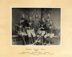 Les joueurs de l'équipe du Quebec Hockey Team, en 1888. Ils témoignent des tous débuts de l'histoire du hockey professionnel pratiqué au 19e siècle et fait état du premier club régulier de hockey existant à Québec. Bien qu'en définitive, le nom de Quebec hockey Team fut retenu, il n'en demeure pas moins que l'équipe portait le pseudonyme de bulldogs de Québec à cause du chien bouledogue, mascotte de l'équipe. Provenance : Bibliothèque et Archives nationales du Québec (BAnQ). Archives Nationales, Hockey Teams, Quebec, Bulldogs, Canada, Club, Movies, Movie Posters, Vintage