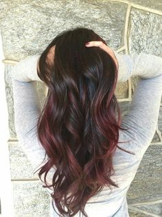 red balayage on brown hair!❤