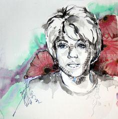 Kim / Aquarell-Collage Collage, Portrait, Art, Watercolor, Figurine, Art Background, Collages, Headshot Photography, Kunst