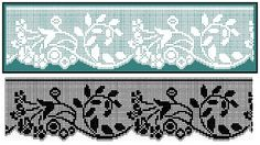 Kira crochet: Crocheted scheme no. Crochet Boarders, Crochet Lace Edging, Crochet Motifs, Crochet Stitches Patterns, Crochet Doilies, Cross Stitch Patterns, Crochet Curtains, Tapestry Crochet, Filet Crochet Charts