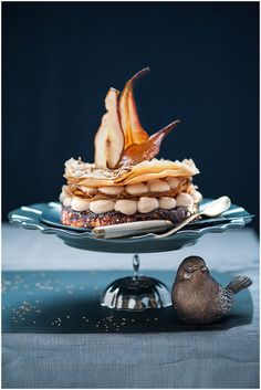 new year crocant cake with chestnut cream and pears