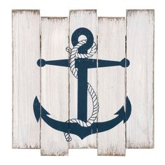 Blue anchor pattern on white wall plaque. Wooden Wall Plaques, Wooden Walls, Anchor Pattern, Navy Anchor, Wall Patterns, Bleu Marine, Wall Hooks, White Walls, Decoration