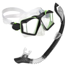 Aqua Lung America Side View Paradise LX Snorkel Set.Hypoallergenic silicone mouthpiece for comfort and durablilty Full flex section provide custom fit One way purge valve for easy clearing