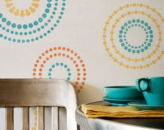 Wall Stencils Circling Elements Stencils for Modern Wall Painting