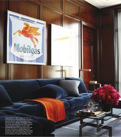 Blue Velvet sofa, masculine study