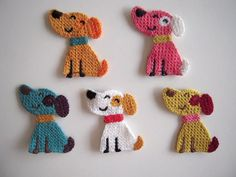 5 Cute crochet applique little smiling dogs, to repair or to decorate. Top quality!