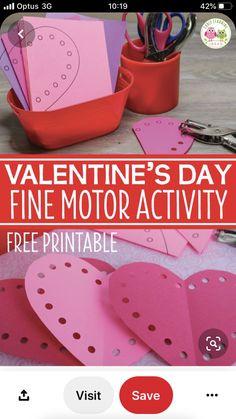 Motor Activities, Fine Motor, Free Printables, Valentines Day, Valentine's Day Diy, Free Printable, Fine Motor Skills, Valentine Words, Valentines