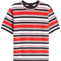 Marc Jacobs Striped T-Shirt (€303) ❤ liked on Polyvore featuring tops, t-shirts, shirts, stripes and marc jacobs
