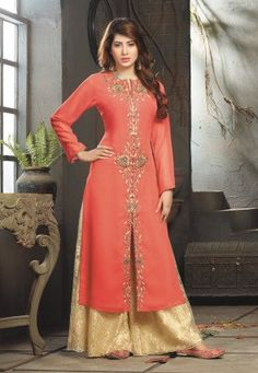 Embroidered Pakistani Front Slit Suit in Dark Peach