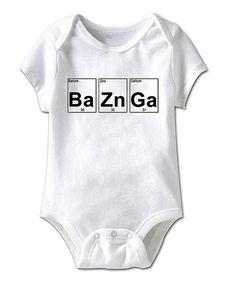 This White 'Ba Zn Ga' Bodysuit - Infant is perfect! #zulilyfinds