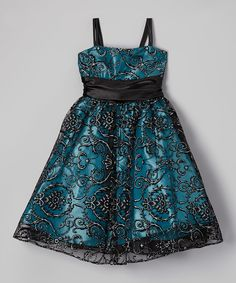 Look at this Turquoise & Black Floral Dress - Girls on #zulily today!