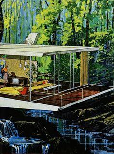 Mid century modernist house illustration