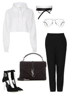 """""""Untitled #1779"""" by kellawear on Polyvore featuring Topshop, River Island, Puma, Yves Saint Laurent, Fallon and Ray-Ban"""