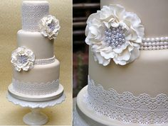 vintage pearl wedding cake with lace by Nice Icing Good Cake for you  #popcake  #confectionery