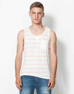 Bershka Romania - Multicolour striped strappy T-shirt