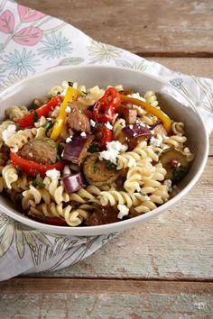 Screws with grilled vegetables and feta cheese! - Βίδες με ψητά λαχανικά και φέτα!