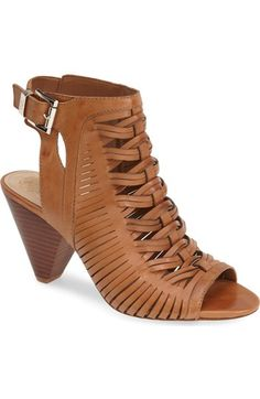 Great shoes, the heel looks a little deceptive, but it feels like you are wearing wedges.  Vince Camuto 'Emore' Leather Sandal (Women) available at #Nordstrom