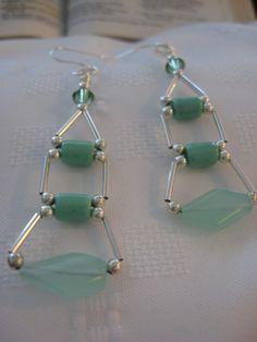 """Sterling Silver Teal Ladder Earrings  Measures: 3 1/4"""""""