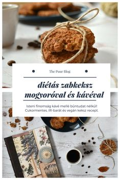 puha cukormentes zabkeksz mogyoróval és kávéval #cukormentes #zabkeksz #vegan #inzulinrezisztancia #recept Sugar Free Desserts, Paleo, Place Card Holders, Sweets, Vegan, Health Foods, Blog, Sugar Free Deserts, Healthy Foods