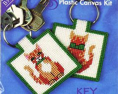 Key Ring, Plastic Canvas Kit, Needlepoint, CatTails, Back Street 10030, Front and Back Cat Portrait, 3-oz