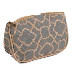 Trellis Jute 10x7 In. Makeup Cosmetic Accessory Bag (Gray/Camel)