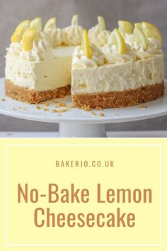 Deliciously creamy and zingy, this no-bake lemon cheesecake is so quick and easy to make. The perfect make-ahead, summer dessert! Deliciously creamy and zingy, this no-bake lemon cheesecake is so quick and easy to make. The perfect make-ahead dessert! Lemon Cheesecake Recipes, Lemon Dessert Recipes, Cheesecake Desserts, Lemon Recipes, Sweet Recipes, Baking Recipes, Summer Cheesecake, Cheesecake Bites, Strawberry Cheesecake