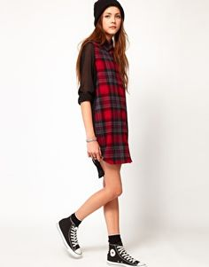 Enlarge Federation Rework Check Shirt Dress With Contrast