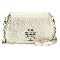 Tory Burch Britten Mini Crossbody Bag (1.745 VEF) ❤ liked on Polyvore featuring bags, handbags, shoulder bags, light gold, chain shoulder bag, mini crossbody purse, mini crossbody, crossbody shoulder bags and white handbags